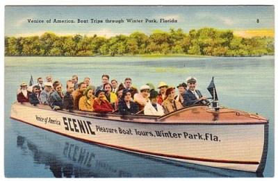 Vintage postcard of Winter Park boat tour.