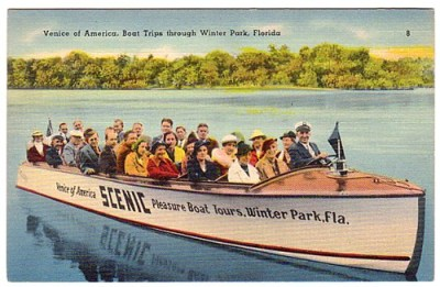 Vintage postcard of Winter Park boat tour.