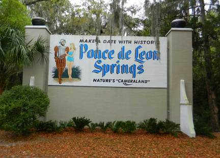 Vintage sign at De Leon Springs State Park