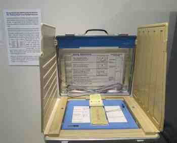 The famous Votomatic machine from the contested 2000 presidential election at the Elliott Museum on Hutchinson Island near Stuart