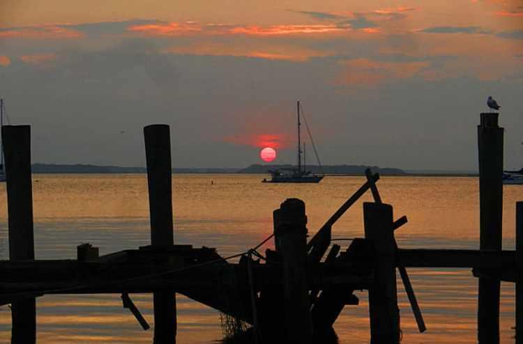 Sunset over the Amelia River at Fernandina Beach on Amelia Island.