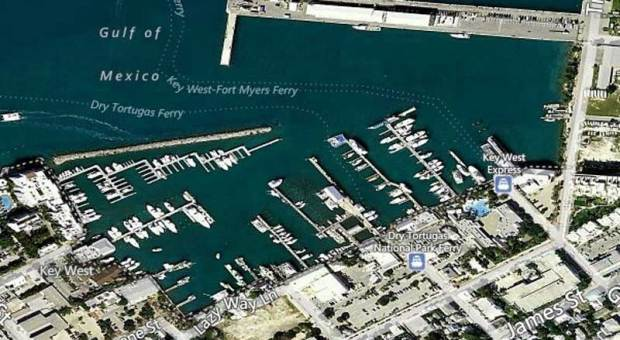 Aerial view of Key West Seaport.