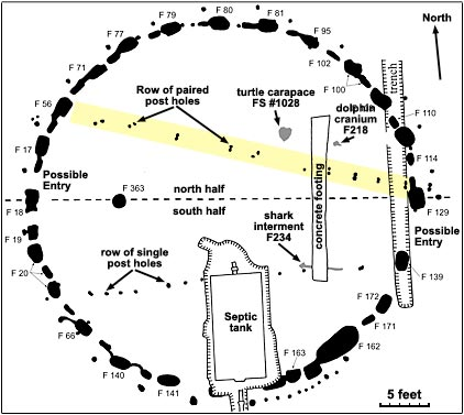 Archaeologist drawing of Miami Circle site