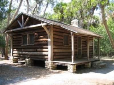 Log cabins at Myakka State park near Sarasota