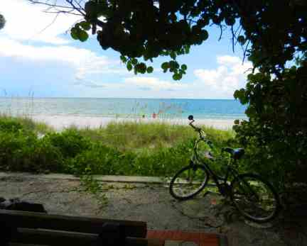 A pocket park in Naples, Fl that provides beach access plus a shady bench with a great view.