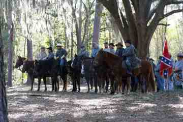 The Battle of Olustee re-enactment includes gun smoke, booming cannons and cavalry.