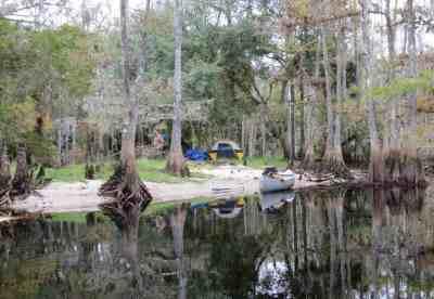 A primitive campsite along Fisheating Creek near Lake Okeechobee.