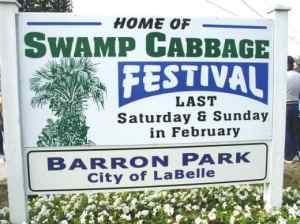 swamp cabbage festival sign