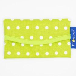 Taschentuch Etui als Accessoires Damen in lindtgrün mit weißen Punkten