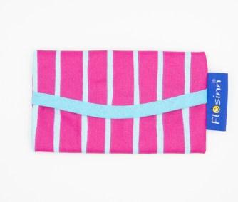 Taschentuch Tasche aus abwaschbarem Stoff in Pink mit türkisen Streifen