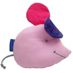 Maus als Lernspielzeug für Babys mit Knisterohren und Quietsche im Bauch in Pink Baumwolle und Rosa Jersey.