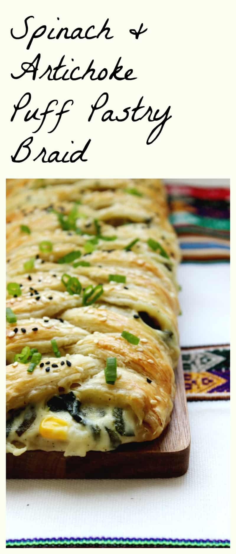 spinach and artichoke puff pastry braid