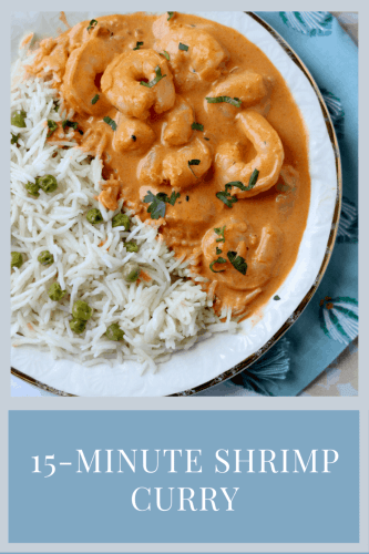 Plate of Pakistani Shrimp Curry w Pea Pilaf