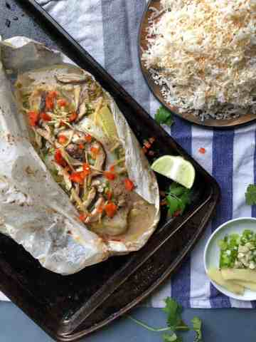 chilli ginger paper baked fish
