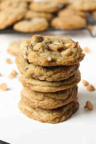 a stack of butterscotch chip cookies