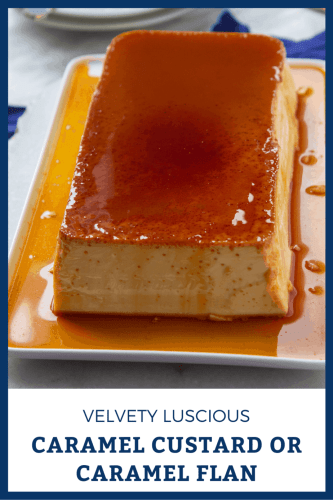 rectangular dish with caramel custard