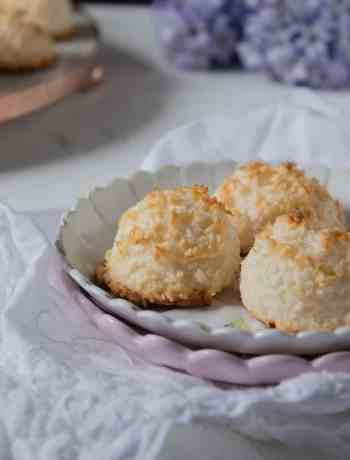 Three Coconut Macaroons in a Plate