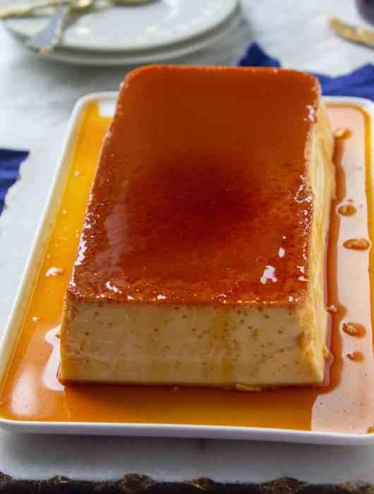 A Caramel Custard in a Rectangular Dish