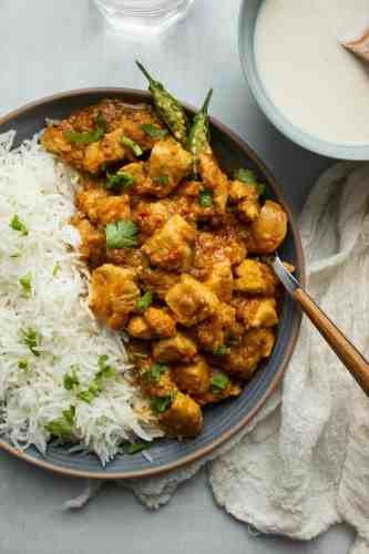 top down of a plate of chicken masala