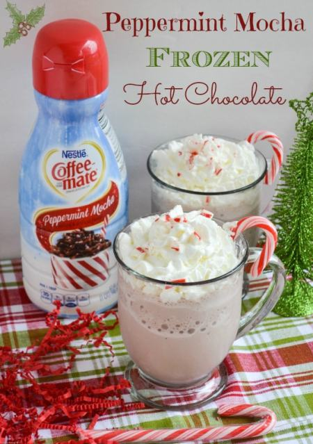 Peppermint Mocha Frozen Hot Chocolate {Flour On My Face}