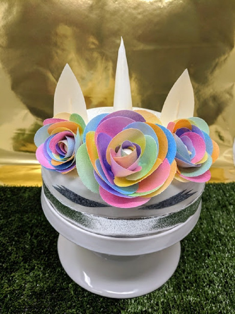 3d Edible Rice Paper Unicorn Flowers For Cake Decoration 3d Cake