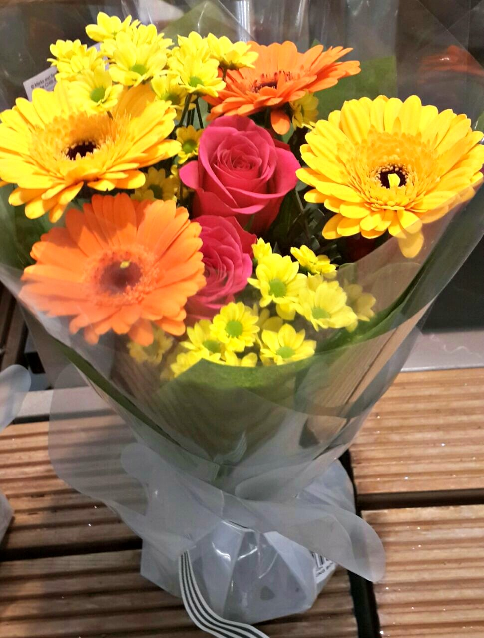 flowerandballooncompany com      Blog Archive      Yellow and Orange     Gerbera Roses and Chrysanths Flower Bouquet