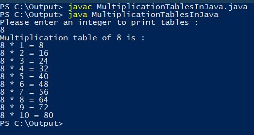 java program to print multiplication table of any number