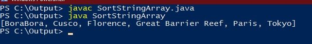 how to sort a string array in java