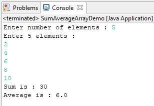 java program to find sum & average of an array