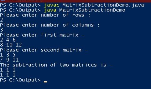 matrix addition and subtraction in java