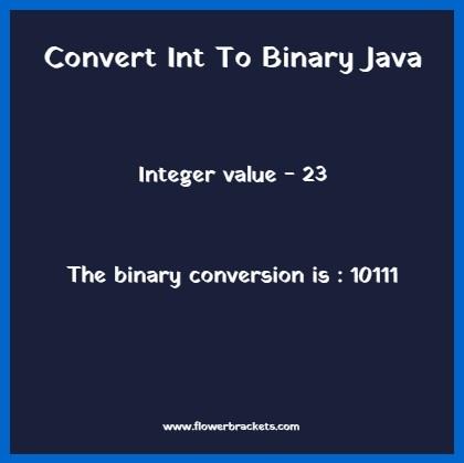 convert int to binary java