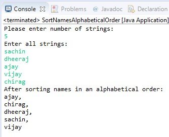 java program to sort names in an alphabetical order