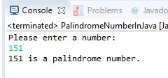 java program to check if a number is palindrome or not
