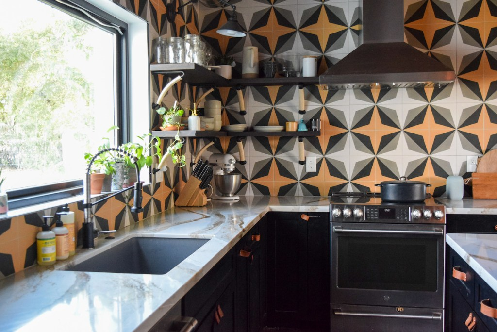 choosing-a-new-door-color-for-bold-tile-kitchen-flower-bungalow