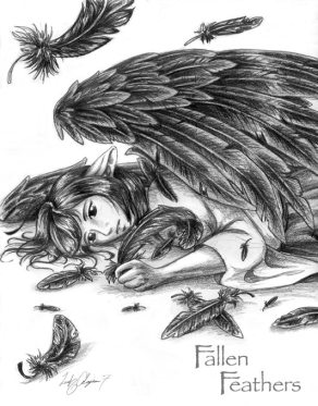 Old pencil sketch of Rava with wings.