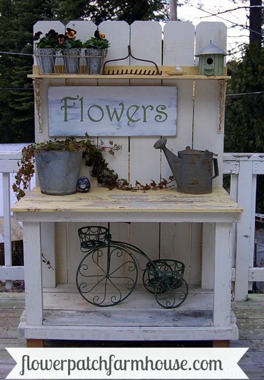 My mega millions potting bench flower patch farmhouse for Flower bench ideas