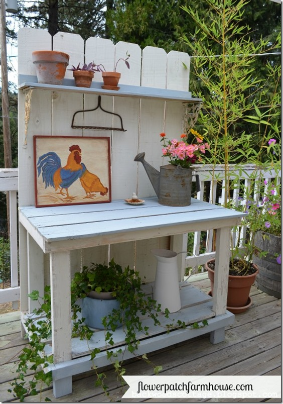 DIY Potting Bench built from fence boards for $45, FlowerPatchFarmhouse.com