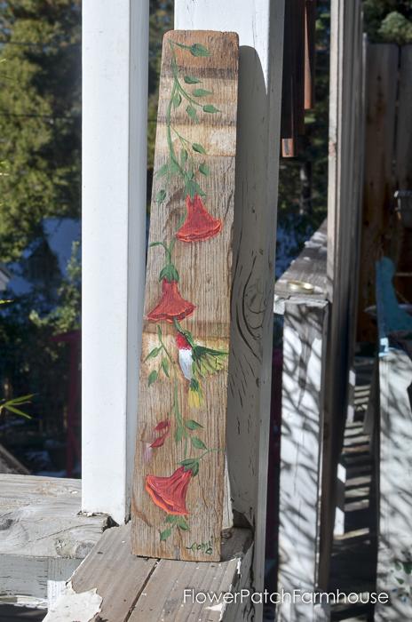 Hand Painted Hummingbird on a Barrel Stave, FlowerPatchFarmhouse.com