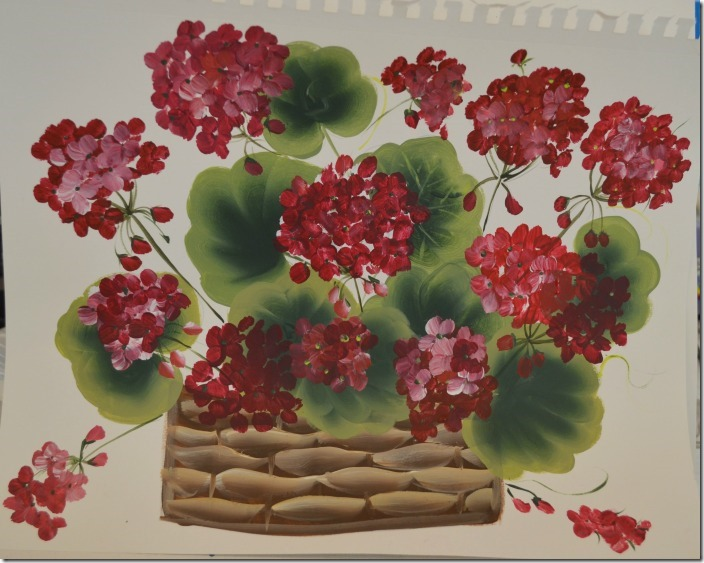 geranium basket painting tutorial