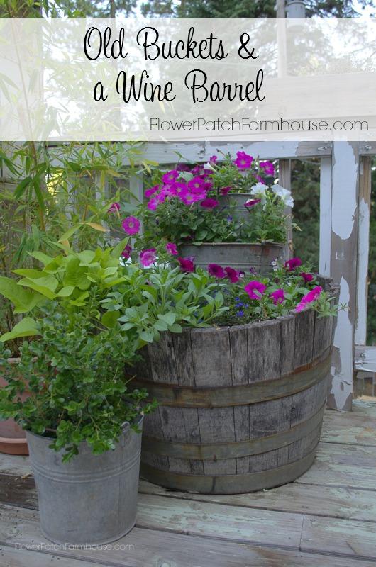 Old Buckets & a Wine Barrel FlowerPatchFarmhouse