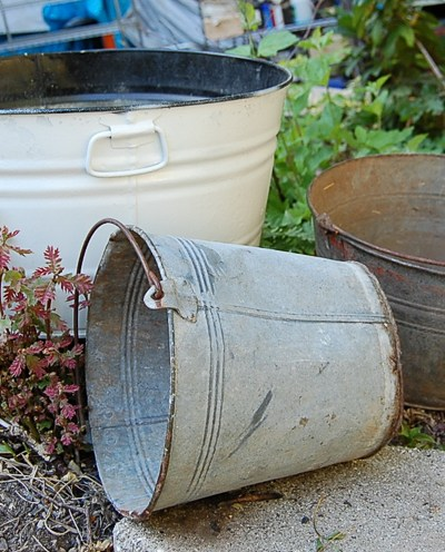 Old Buckets & a Wine Barrel