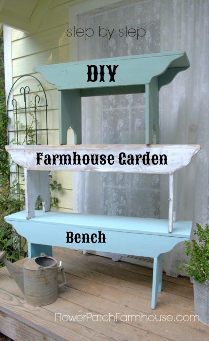 Build yourself a gorgeous Farmhouse bench, easy DIY anyone can do, FlowerPatchFarmhouse.com
