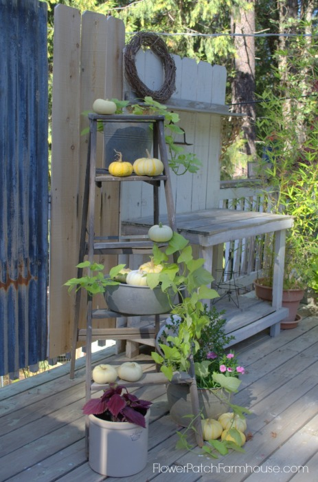 Rustic Ladder & Potting Bench, FlowerPatchFarmhouse.com