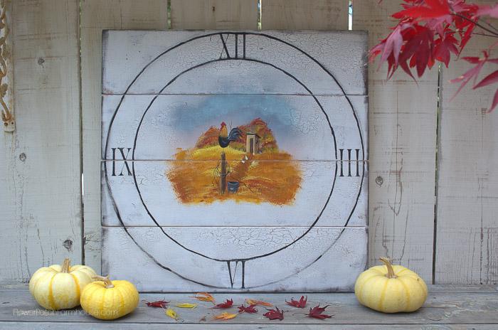 Faux Rooster Clock, FlowerPatch Farmhouse.com