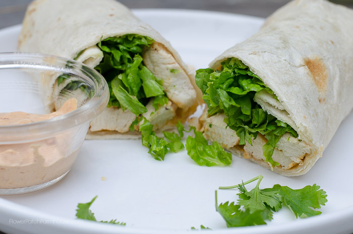 Cilantro Lime Chicken wrap with chipotle mayonnaise, FlowerPatchFarmhouse.com
