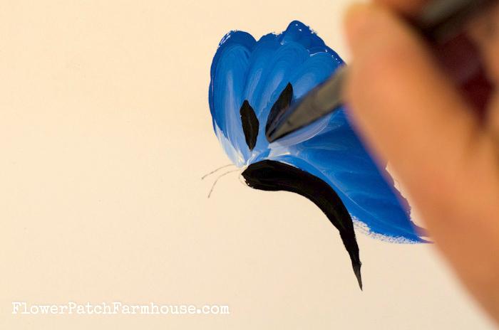 How to Paint a Blue Butterfly, FlowerPatchFarmhouse.com