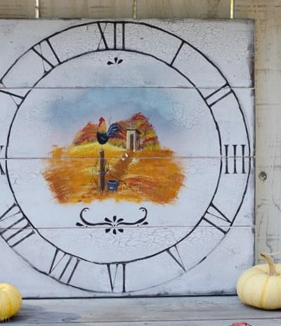 Autumn Farmhouse Rooster Clock