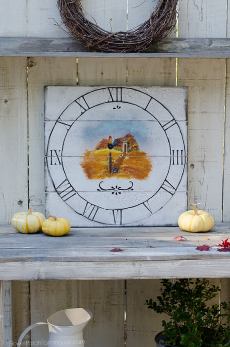 I love chickens and just about anything farm, so I hand painted a Fall Farmhouse clock with chickens, Flower Patch Farmhouse.com