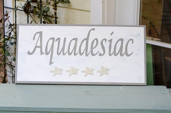 Aquadesiac hand painted sign, FlowerPatchFarmhouse.com