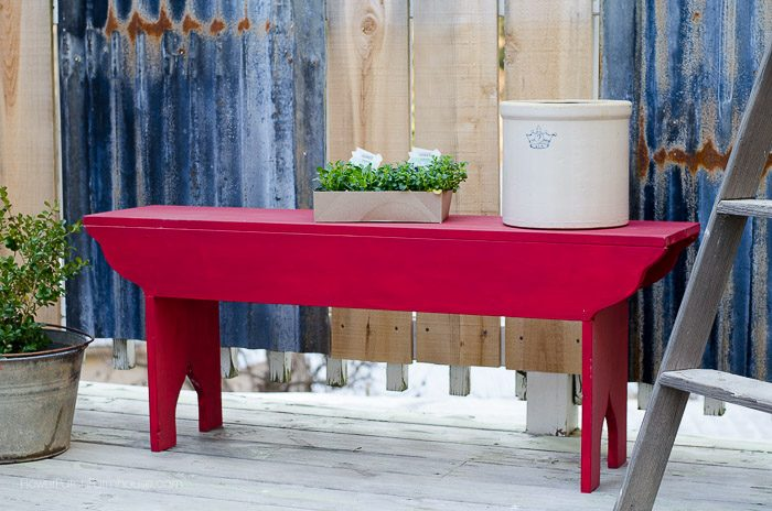 DIY Red Farmhouse Garden Bench, FlowerPatchFarmhouse.com